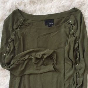 Greylin olive green lace up sleeve blouse